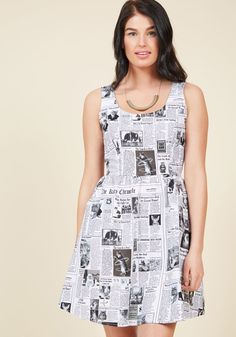 Start Spreading the Mews A-Line Dress in XL - Sleeveless Fit & Flare Knee Length by Retrolicious from ModCloth Day Dresses, Plus Size Dresses, Casual Dresses, Fashion Dresses, Scoop Neck Dress, Dress Up, Dress Silhouette, Unique Dresses, Modcloth