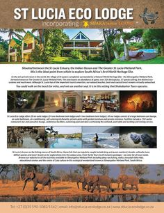 St Lucia Ecolodge is situated between the St Lucia Estuary, the Indian Ocean, and the iSimangaliso Wetland Park; this is the ideal point from which to explore South Africa's first UNESCO World Heritage site.
