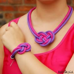 NECKLACE & BRACELET - knot - knotted necklace - set - rope - trendy - paracord necklace - purple and pink - multicolor - paracord - kaktusia. $29.00, via Etsy.