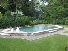 Classic Pool Designs – Swim-Mor Pools and Spas Geometric Pool, Landscaping A Slope, Backyard Pool Designs, Small Pools, Dream Pools, Formal Gardens, Spas, Peacock, Swimming Pools