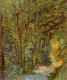 Path in the Woods.  -  Vincent van Gogh 1887  Post-impressionism  Van Gogh Museum, Amsterdam, Netherlands