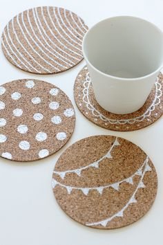 metallic zig marker and cork coasters...love this!