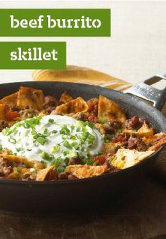 Quick-Fix Beef Burrito Skillet – It's the savory goodness of a beef burrito with the ease of an all-in-one dinner. Let everyone top it off their own way with fresh lettuce ripe tomato and creamy avocado.