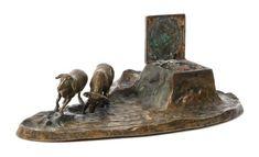 Bronze Figural Inkwell Height 1 1/2 x width 10 x depth