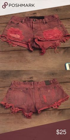 One Teaspoon Short Previously worn One Teaspoon red denim short. One Teaspoon Shorts Jean Shorts