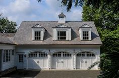 Did you remember to shut the garage door? Most smart garage door openers tell you if it's open or shut no matter where you are. A new garage door can boost your curb appeal and the value of your home. Garage House, Carriage House Garage, Barn Garage, Diy Garage, Garage Plans, Small Garage, House Doors, Dream Garage, Cheap Garage Doors