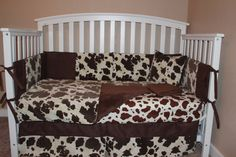 Brown Cowhide 6 Piece Crib Bedding Set