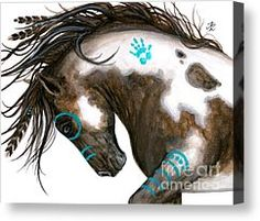 Native American Canvas Prints - Majestic Horse #151 Canvas Print by AmyLyn Bihrle