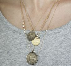 layered necklaces, thin gold chains