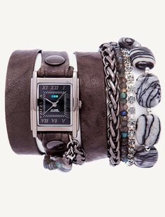 Gunmetal Square Case. Grey Wash leather with gunmetal rivets. Spider Web Jasper Stones Chain.