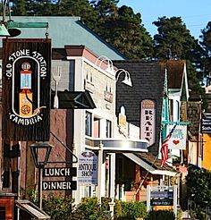 The quaint shops of the little town of Cambria, San Luis Obispo, California, great opportunity to do some Christmas shopping.
