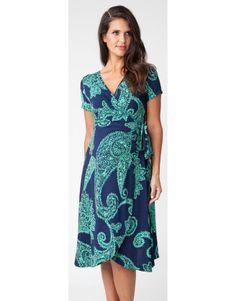 19e0e1382a1 Paisley Marine Wrap Maternity Dress - Spring Baby Shower Dress Spring  Maternity