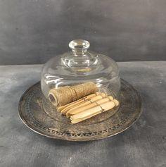 Vintage Glass Cloche Dome & Silver Tray