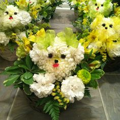 Open house centerpieces for an animal hospital