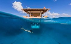 The Underwater Room at The Manta Resort gives guests the unique experience of sleeping in a submerged room in the ocean. This room is at The Manta Resort in Zanzibar, Tanzania. The villa sits 250 meters from the shore. Hotel Subaquático, Tanzania, Underwater Hotel Room, Resorts, Manta Resort, Under The Water, Floating Hotel, Floating Island, Unusual Hotels