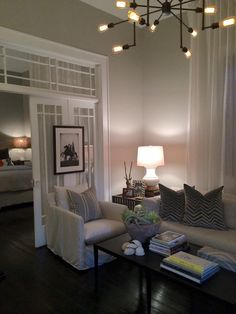 Whiskers by Porter Paint Making Small Space Live Large: Chad James Group Small Space Living, Small Spaces, Shotgun House Interior, Family Room Design, Living Room Chairs, Home Decor Bedroom, Room Inspiration, New Homes, Interior Design