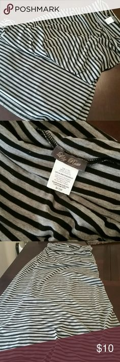 Maxi Skirt Gray and Black striped Maxi Skirt. New, never worn Great codition! Lily Rose Skirts Maxi