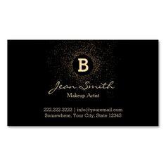 Chic Gold Splash Monogram Black Makeup Artist Business Cards