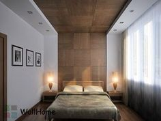 The balance in this image comes from the mirrored nature of the bed and the nightstands. The mirrored nature provides some satisfaction since the wall and drapes aren't necessarily symmetrical. Bedroom False Ceiling Design, Master Bedroom Interior, Home Decor Bedroom, Modern Bedroom, Flat Interior, Home Interior Design, Bungalow House Design, Suites, Luxurious Bedrooms