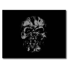 Worn and Damaged Skull Post Cards