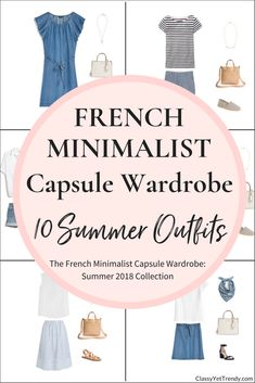 Create a French Minimalist Capsule Wardrobe On a Budget: 10 Summer 2018 Outfits - A preview of the eBook! 100 outfit ideas included from just 25 clothes and shoes, most you may already have in your closet! Also included is a capsule wardrobe creation guide, visual clothes/shoes/accessories guide with convenient shopping links for both regular and plus sizes, a checklist, travel packing guide and more!