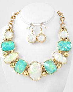 Gold Tone / White & Aqua Acrylic / Gold Ccb (bead) / Lead Compliant / Necklace & Fish Hook Earring Set