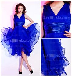 A-line V-neck Knee-length Chiffon Cocktail/Prom Dress - USD $ 97.49
