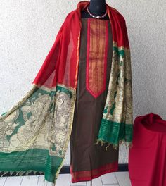 South cotton kurta teamed with stunning hand painted (vegetable colors) kalamkari dupattas and cotton lowers   PRICE : ₹ 3400  TO BUY : rangindianwear@gm...