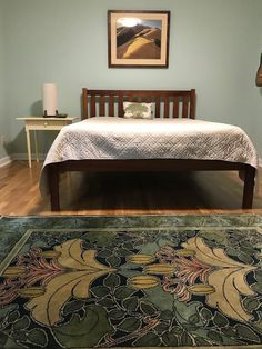 GuildCraft Carpets Lily & Vine 1 –  English Arts & Crafts Bedroom. Wool rug with acanthus leaves in blues and greens. An original carpet design by CFA Voysey.