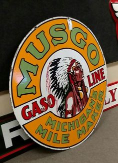 RARE Original Musgo Gasoline Porcelain Sign Retro Advertising, Advertising Signs, Vintage Advertisements, Barn Signs, Old Signs, Antique Signs, Vintage Signs, Firestone Tires, Vintage Gas Pumps