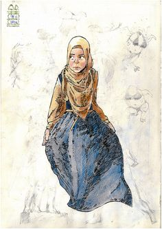 Girl in Hijab | A practice in drawing folds and creases in clothing.