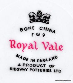 Royal Vale Ridgway Potteries 1960s makers mark