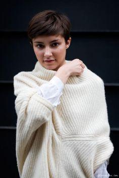Beige sweater, white