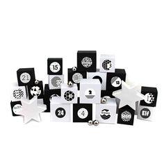 24 Adventskalender Kisten - zum selber befüllen - mit 24 Zahlenaufklebern - mit schwarz-weißen Kisten verschiedener Größen - von Papierdrachen Advent Calendar, Holiday Decor, Cards, Home Decor, White Box, Original Gifts, Crates, Boxes, Gift For Boyfriend