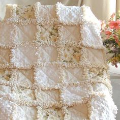 Baby Rag Quilt Yellow Roses Minky