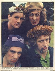 Four Pythons: Michael Palin, Eric Idle, Terry Jones & Graham Chapman (Monty Python's Flying Circus) Monty Python, Eric Idle, Terry Jones, Michael Palin, Terry Gilliam, Cinema, British Comedy, British Humour, Pulp