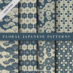 Blue Japanese Floral Pattern Free Vector by angelikastrauss Japanese Textiles, Japanese Patterns, Japanese Prints, Japanese Design, Textile Patterns, Textile Design, Flower Patterns, Fabric Design, Print Patterns