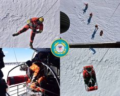 U.S. Coast Guard Survival Technicians at Air Station Traverse City conduct ice rescue training with a MH-60T Jayhawk helicopter near Houghton, Michigan. Houghton Michigan, Patriotic Poems, Traverse City, Coast Guard, Survival, Ice, Training, Work Outs, Ice Cream
