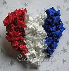 4th of July kid craft: tissue paper heart