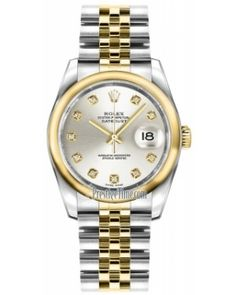 Best Rolex Datejust 36mm Stainless Steel and Yellow Gold Midsize Watch 116203 Silver Diamond Jubilee
