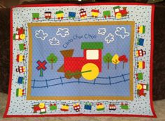 Train Quilted Baby Blanket Panel Nursery Wall Hanging Primary Colors Blue Circle Back Nursery  36 x 45