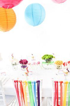 A rainbow of colour and reams of ribbon transform any wedding… Marquee Wedding, Wedding Reception Decorations, Wedding Themes, Wedding Colors, Wedding Ideas, Birthday Decorations, Rainbow Wedding, Summer Wedding, Our Wedding
