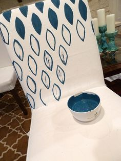 Great tutorial about transforming a plain slipcover into something fabulous