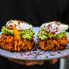 Mob Kitchen Sweet Potato Rösti with Poached Eggs Potato Rosti Recipe, Sweet Potato Rosti, Eggs And Sweet Potato, Vegetarian Recipes, Cooking Recipes, Healthy Recipes, Vegetarian Sweets, Vegetarian Cooking, Cooking Time
