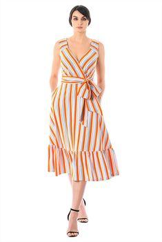 ac18151c87 Stripe jersey knit surplice midi dress. Striped JerseyCasual DressesFormal  ...
