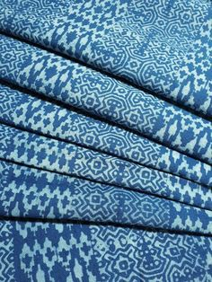 Thai Hand printed Fabric Natural Cotton Fabric by the yard Hmong Fabric Hill Tribe Fabric Vintage Fabric Batik Fabric Dark Sky Blue