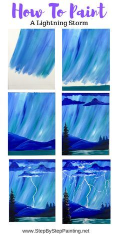 How To Paint A Lightning Storm This Step By Step Beginners Acrylic Painting Tutorial Will Show You How To Paint A Lightning Storm Learn With Detailed Step By Step Pictures And Video Canvas Painting Tutorials, Easy Canvas Painting, Simple Acrylic Paintings, Painting Lessons, Diy Canvas, Easy Paintings, Painting Techniques, Diy Painting, Painting & Drawing