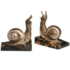 1930 Snail Bookends by Suzanne Bizard