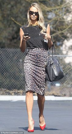 Stacy Keibler rocks ladylike polka dots & leopard print with color pop heels