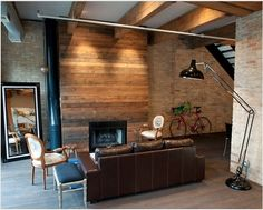 Wooden walls are perfect choice if you want to live in warm and unique home. They can look perfect in every room in your house. Wooden walls can look Reclaimed Wood Fireplace, Wood Fireplace Surrounds, Brick Fireplace, Fireplace Design, Fireplace Ideas, Pallet Fireplace, Reface Fireplace, Simple Fireplace, Reclaimed Timber
